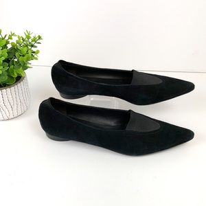 DONALD J. PLINER Black Suede Pointed Toe Flats 9.5